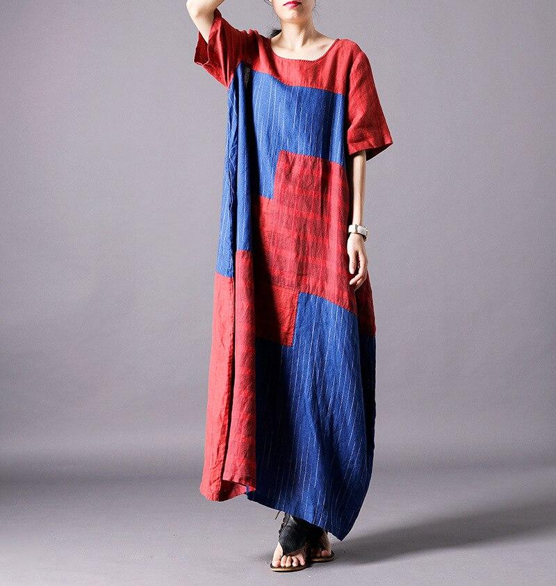 Femmes d'été Patchwork coton lin robe dames lâche rétro tenue décontractée femme élégante Vintage coton lin robes