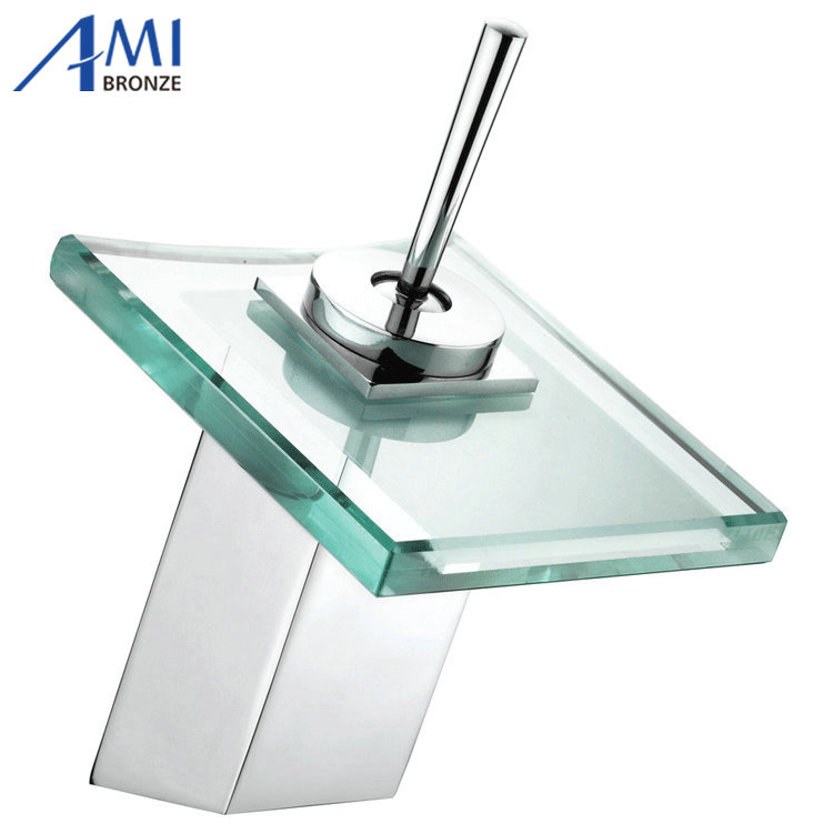 Bathroom sink basin mixer tap chromed brass square glass waterfall Faucet BF041 phasat 4905 modern chromed brass waterfall kitchen sink faucet water tap silver