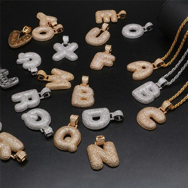 f8bf7969b88d Hip Hop A-Z nombre personalizado letras burbuja COLLAR COLGANTE de circón  cúbico cartas collar de las mujeres de los hombres de plata de oro de  joyería de ...