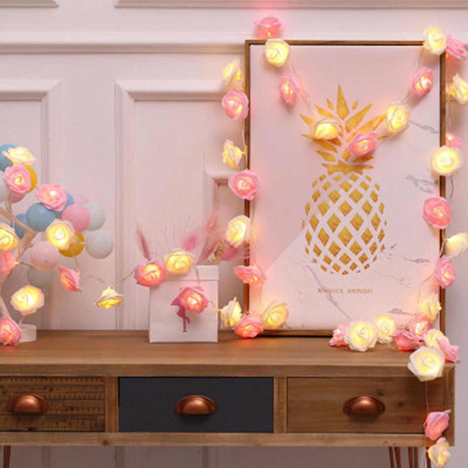 Classic rose string light 5M 40 Leds, Handmade floral holiday string light, Wedding party decoration,vase flower DIY arrangement