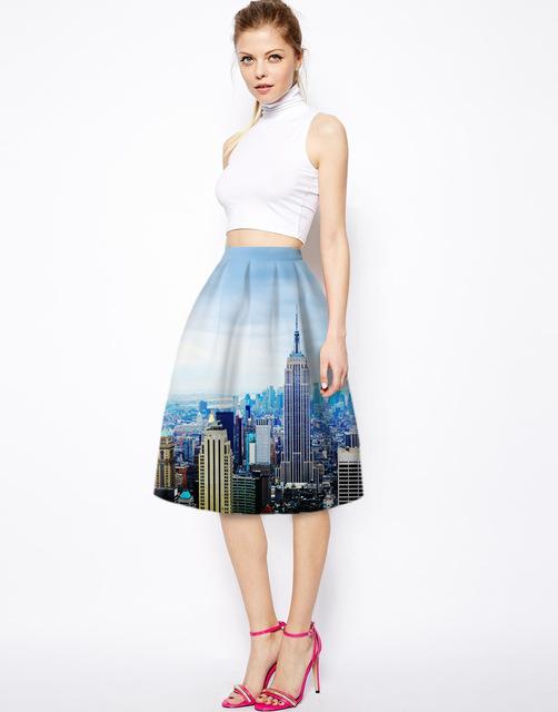 Nueva moda 3D New york City Sky imprimir mujeres balón vestido faldas falda de las muchachas Vintage mujer niñas de cintura alta de verano de la falda de Pettiskirt