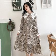 Printed Leopard Dress Women S-XXL Korean Style Peter Pan Collar Fashion Midi Chiffon Dress Autumn Long Sleeve Elegant Robe Femme цена в Москве и Питере