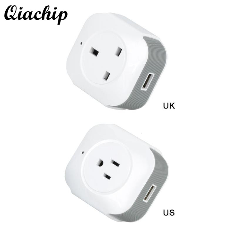 QIACHIP UK US Plug WiFi Wireless Smart Home Socket App Remote Control Work with Amazon Alexa Google Home Outlet 2pcs koogeek smart wifi socket eu power plug smart home plug wireless outlet app remote control for amazon alexa google home