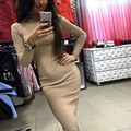 2016 New Women Crew Neck Long Sleeve Ribbed Dresses Knitted Shirt Bodycon Dress