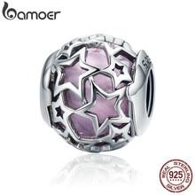 BAMOER BAMOER 100% 925 ayar gümüş radyant kalpler, Opalescent pembe kristal boncuklar Fit Charm bilezikler DIY takı SCC510