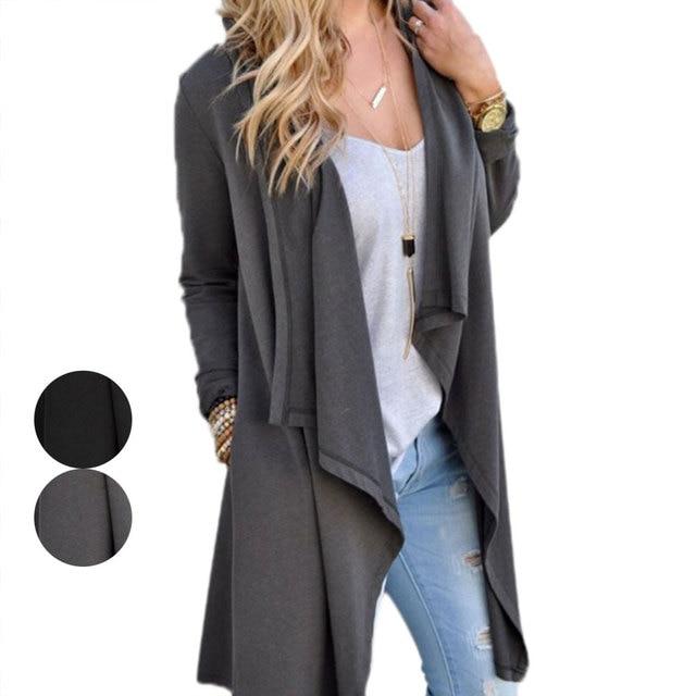 31ae0e0b15a Fashion Women Cardigan Long Sleeve Irregular Long Thin Loose Coat Slim Fit  Autumn Outerwear Tops Jacket Female Autumn Chaquetas