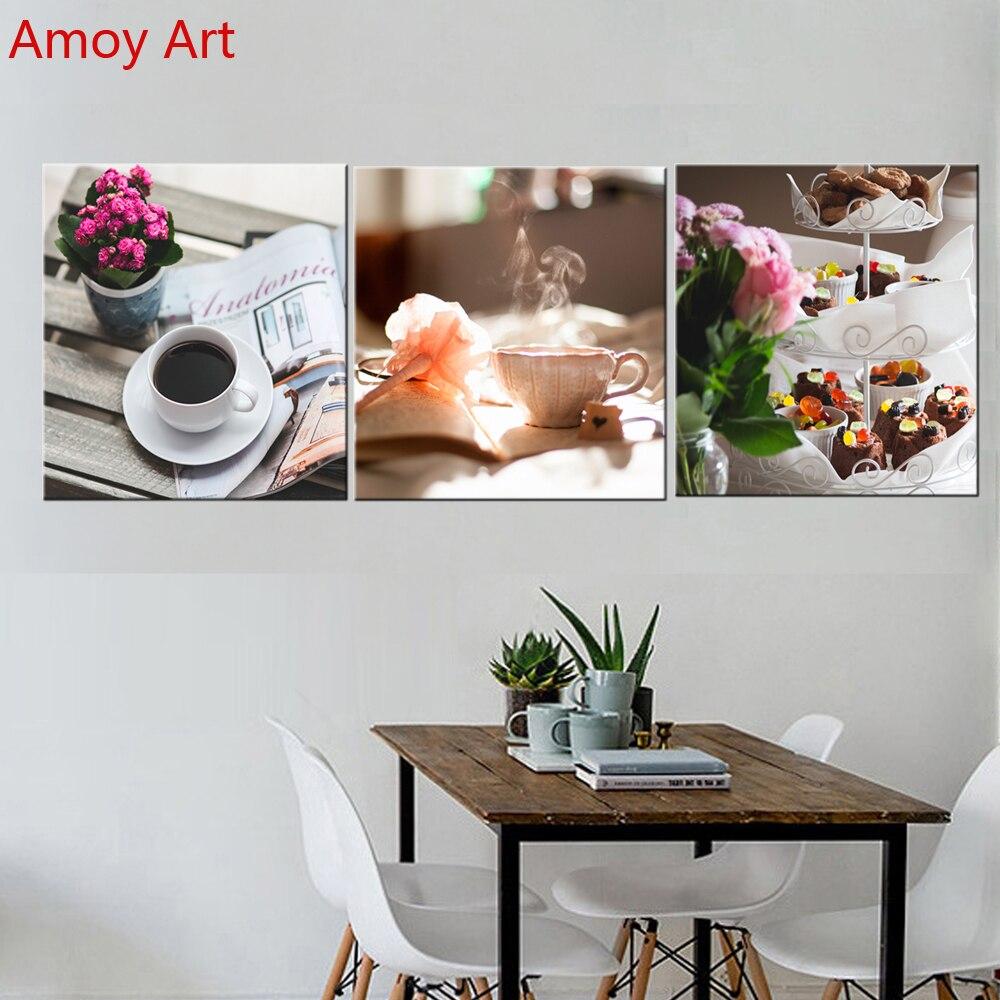Kitchen Wall Painting Designs: Unframed 3 Panel Morining Tea Coffee Flowe Modern Canvas