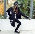 Estilo Harajuku 2015 das mulheres da marca Letras Impressas pu costura de couro solto longa seção acolchoado jaquetas mulheres casaco de inverno roupas