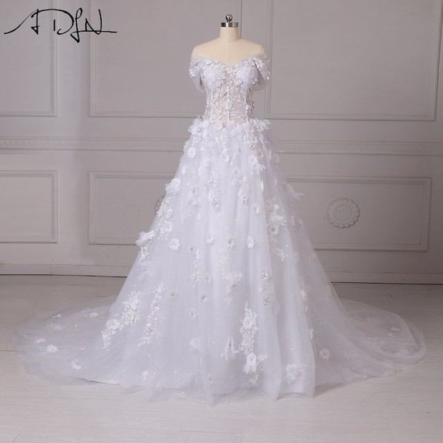 ADLN Luxury Wedding Dresses with Flowers Off-the-shoulder Illusion Bodice Bridal  Gown Customized Vestidos de Casamento 6594f110c796