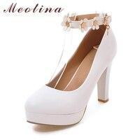 Meotina Platform High Heels Spring Flower Ankle Strap High Heels Women Pumps White Wedding Bridal Shoes Party Shoes Pink Purple