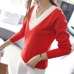 2017 spring outerwear women knitted shirt long sleeve outerwear v neck sweater loose pullover female tops.jpg 250x250