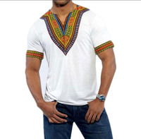 Male Dashiki Vintage T Shirts 2017 Cotton Bohemia Retro Tops Men African Print T Shirt Ethnic