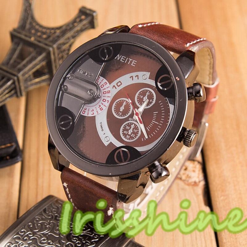 Irisshine A125 Unisex Couple Watches Fashion Luxury Men Women Analog Sport Steel Case Quartz Leather Wrist Watch Boy Girl
