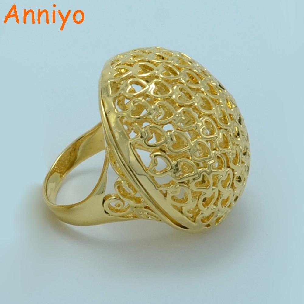 Anniyo African Big Ring for WomenMen Gold Color Ethiopian Wedding