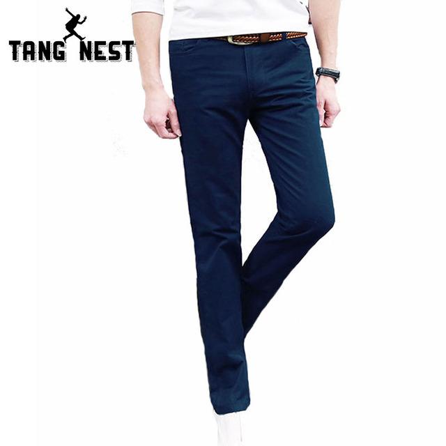 Pantalon Homme 2017 Diseño Popular de Los Hombres Pantalones Casuales de Negocios Masculinos Pantalones Rectos Mediados de cintura de Color Sólido Pantalones de Los Hombres MKX903