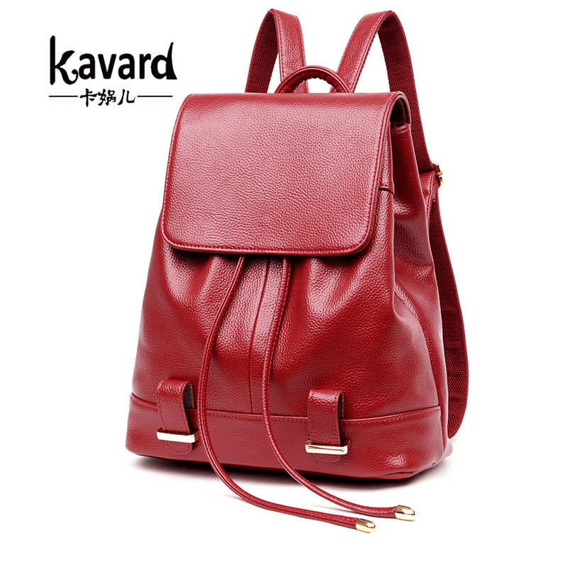 Kavard Black Leather Backpack Women Drawstring School Bag For Girls 2017 Fashion Solid Softback Backpacks Brand
