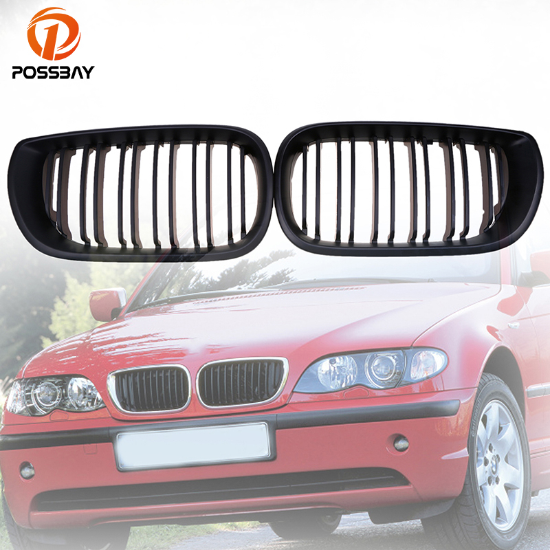 POSSBAY Front Grille Grill Double Lines Matte Black Grilles for BMW 3 Series E46 320i 325i