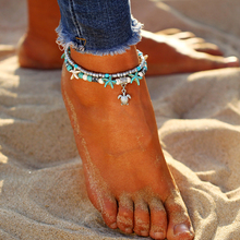 Multiple Layered Starfish Turtle Beads Anklet