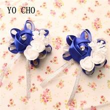 YO CHO DIY Creative Artificial Wrist Flower Bridesmaid Sisters Hand Flowers Bride Flowers Royal Blue Wedding Decoration Flower цена