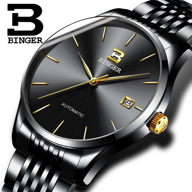 Switzerland BINGER Watch Men Luxury Brand Watches Male Automatic Mechanical Mens Watches Sapphire relogio Japan Movement