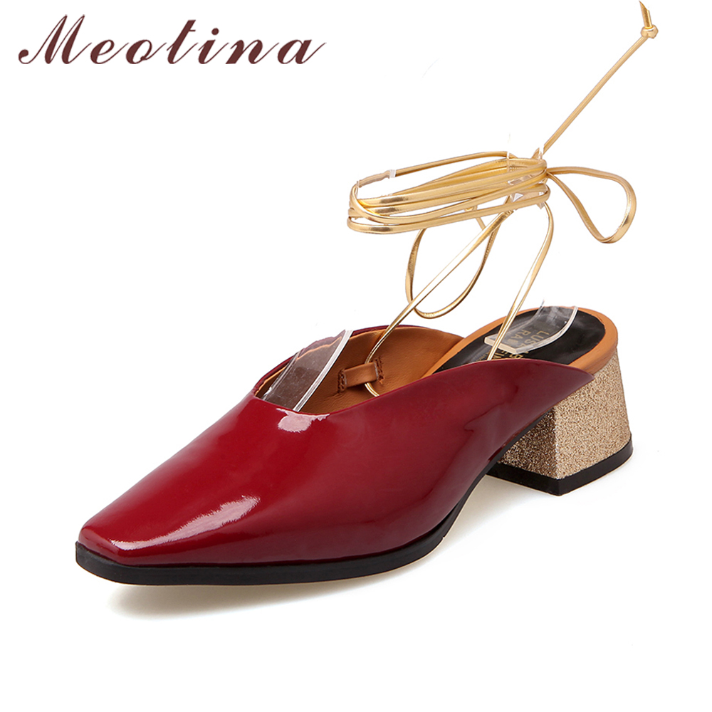 Meotina Genuine Leather Shoes Women Pumps Fashion Square toe Chunky Heels Slingbacks Pumps Spring Cross Tied Heels Wine Red Blue