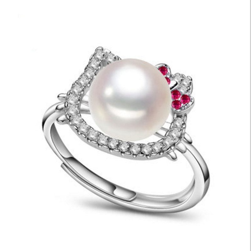 2017 fashion pearl jewelry natural freshwater hello kitty pearl ring wedding rings 925 sterling silver rings