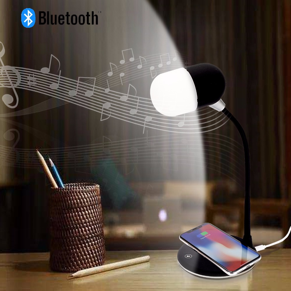 Jinle Multi-function Creative Wireless Bluetooth Music Lamp Usb Dc 5v Charging Touch Led Black White Audio Table Desk Lamp Led Lamps Lights & Lighting