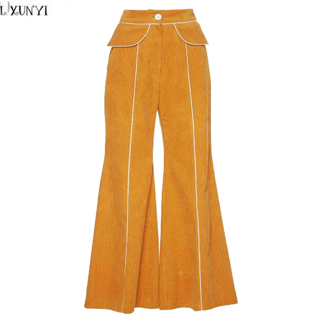 8daf920673f LXUNYI Yellow Corduroy Pants Womens Spring Autumn Fashion Wide leg Loose  Casual Trousers OL Formal High Waist Flare Pants Women
