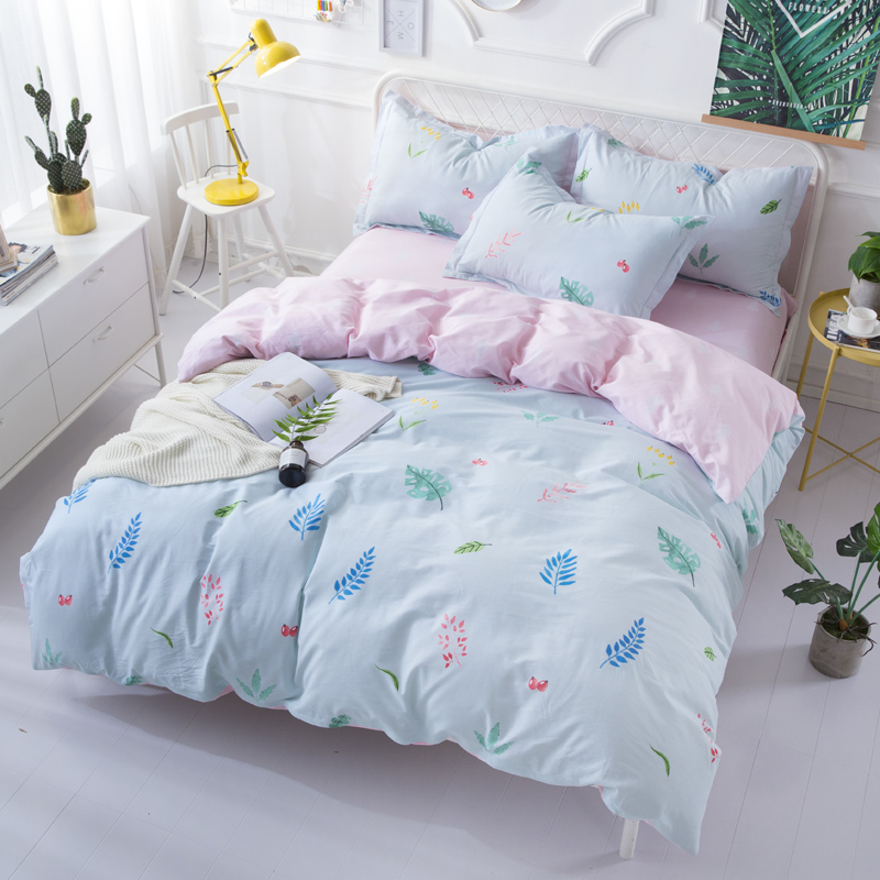 Elegant Leaves Plant 100 Cotton Bed Linens Twin Queen King Bedding Set Zipper Duvet Cover With