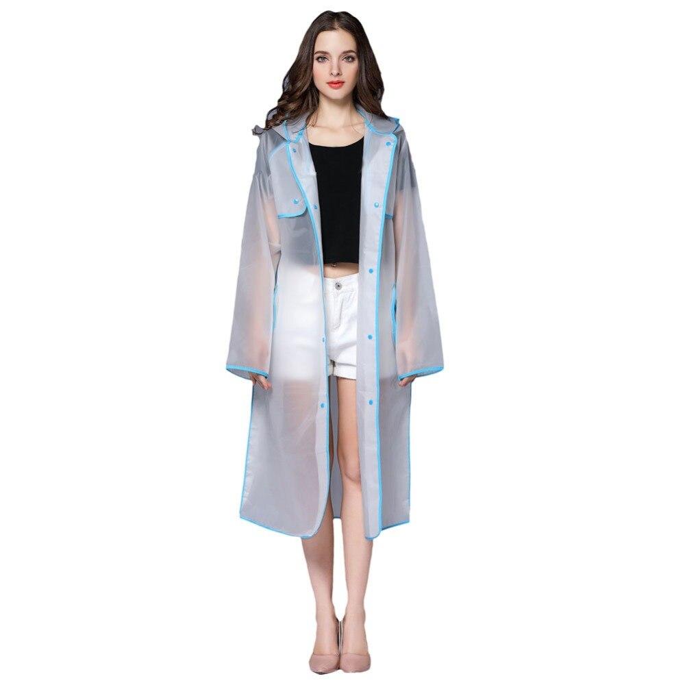 2017 New Fashion Women's Transparent Eva Plastic Girls Raincoat Travel Waterproof Rainwear Adult Poncho Outdoor Rain Coat