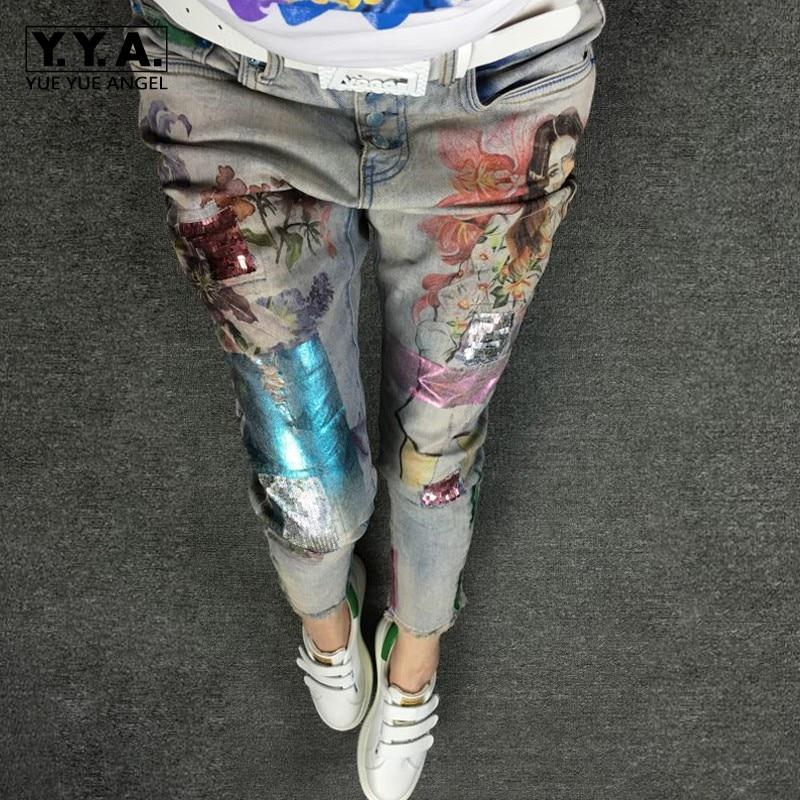 Estampado Pantalones Vaqueros Pic Harajuku De Longitud Mujer Mezclilla Skinny Tobillo Lápiz Del Casual Slim Moda La As OUwwEAq