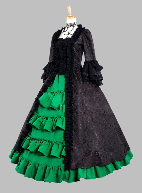 Gothic Black and Green Cotton Brocade Victorian 1870/90s Era Dress Party Dress Cosplay Dress