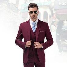 FOLOBE Terno Masculino Custom Made Burgundy Tuxedo Jacket Men Slim Fits Suits Tuxedos Grooms Suits Wedding