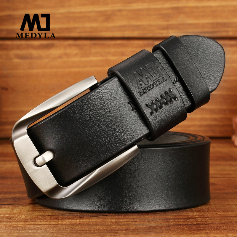 MEDYLA Men's Leather   Belt   Genuine Luxury Leather Vintage Design Pin Buckle Genuine Leather   Belt   Male Waistband Cummerbund Strap