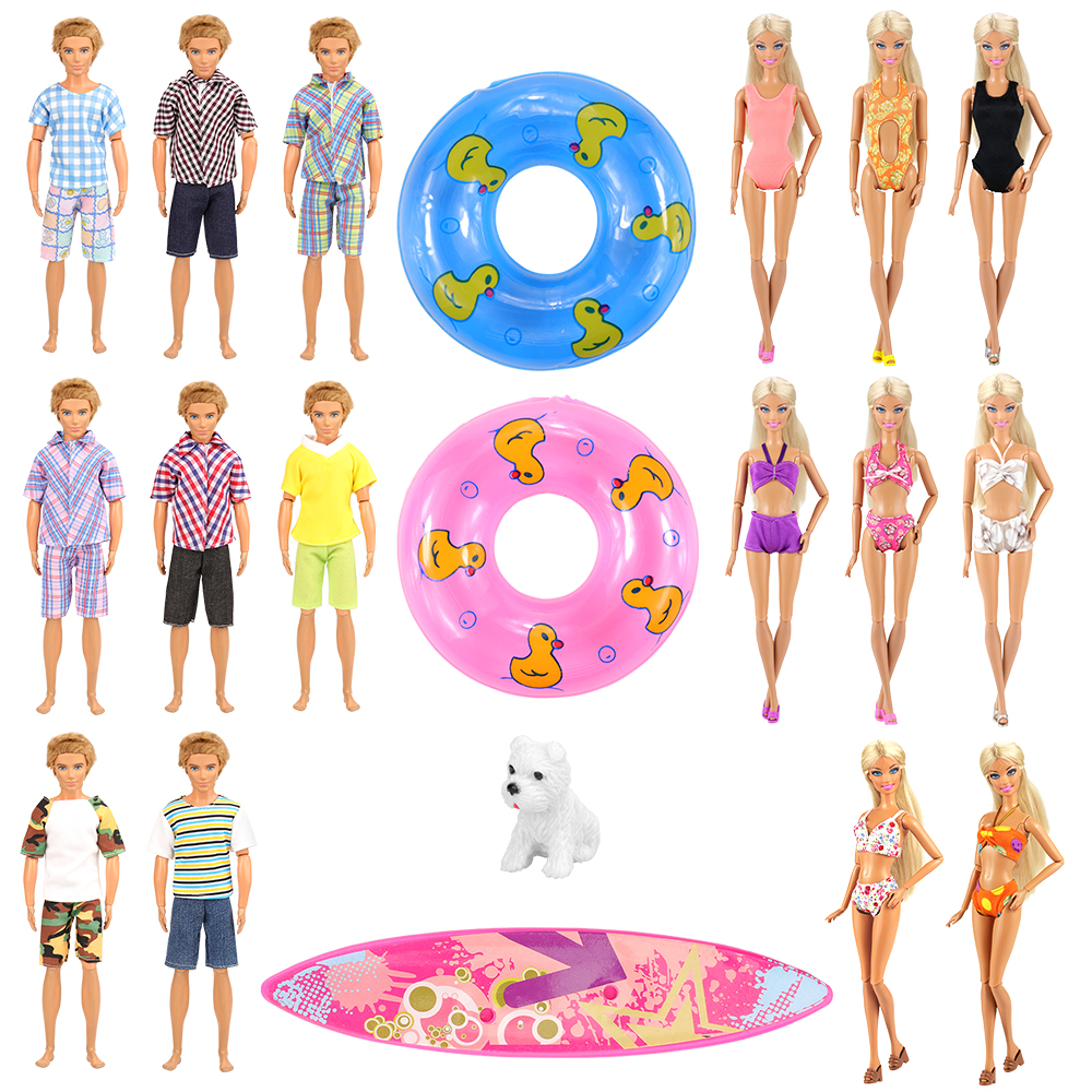 Newest 12 Dolls Items/Set =3 KEN Doll Clothes Random +4 Doll Accessories +5 Swimsuits Clothes For Barbie Ken Kids Toys Presents