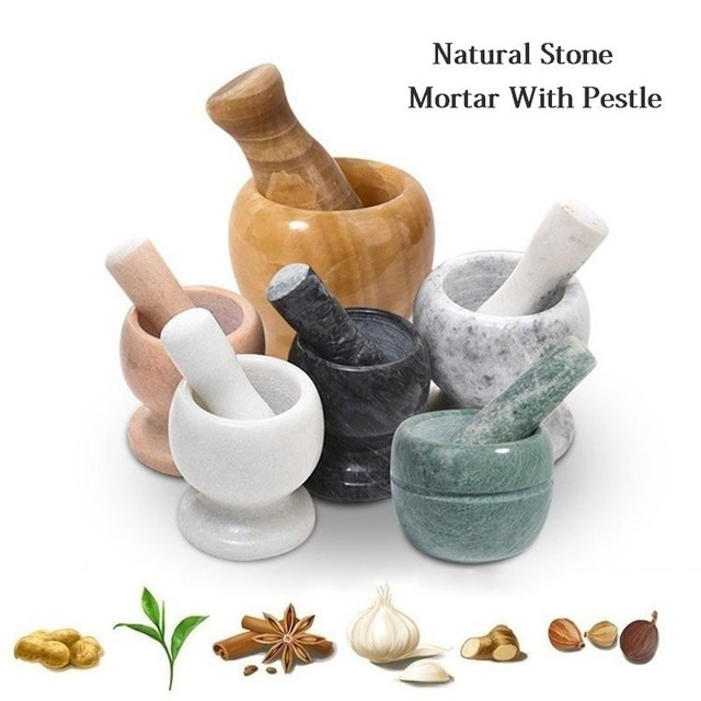 Natural Stone Durable Mortar With Pestle Multipurpose Salt Pepper Mill Manual Garlic Crusher Mincer Grain Herb Spice Grinder