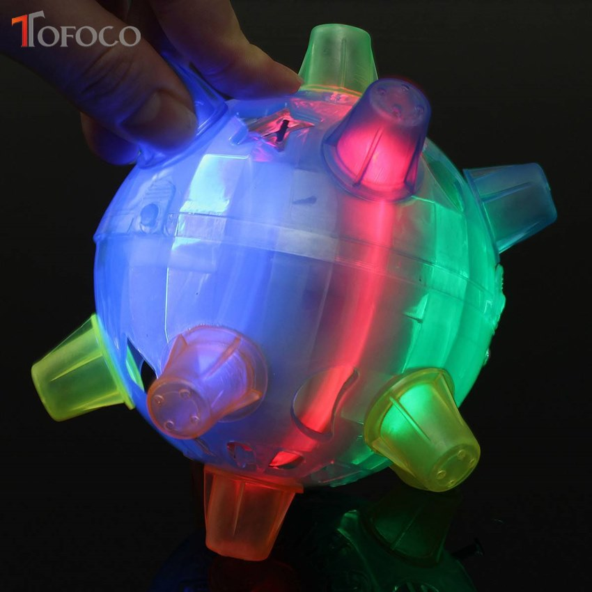 LED Light Jumping Ball Kids Crazy Music Football Children's Funny Toy Bouncing Dancing Kid Vibrating Toy Ball TOFOCO