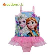 Actionclub Princess Elsa Anna Bikinis Set Baby Girls Kids Children Lace Sequins Swimwear Bathing Suit Biquini Infantil SA151