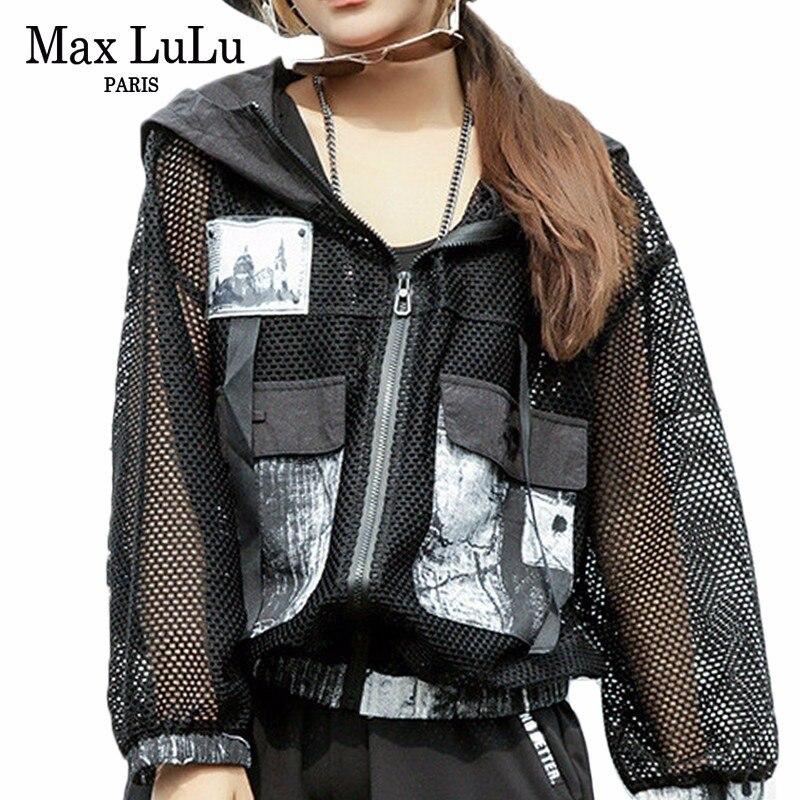 Max LuLu mode coréenne de luxe Streetwear dames maille Punk vêtements femmes Sexy court à capuche veste Vintage imprimé manteau surdimensionné