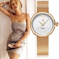 Shengke SK Fashion Quartz Women Watches Stainless Ultra Slim Top Thin Steel Mesh Belt Women S