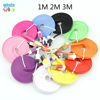 100pcs/lot  1M 2M 3M Colorful Noodle Flat Cable V8 Micro USB 5pin 8pin Data Charger Cable for Samsung S3/S4 Xiaomi Iphone X 10 8