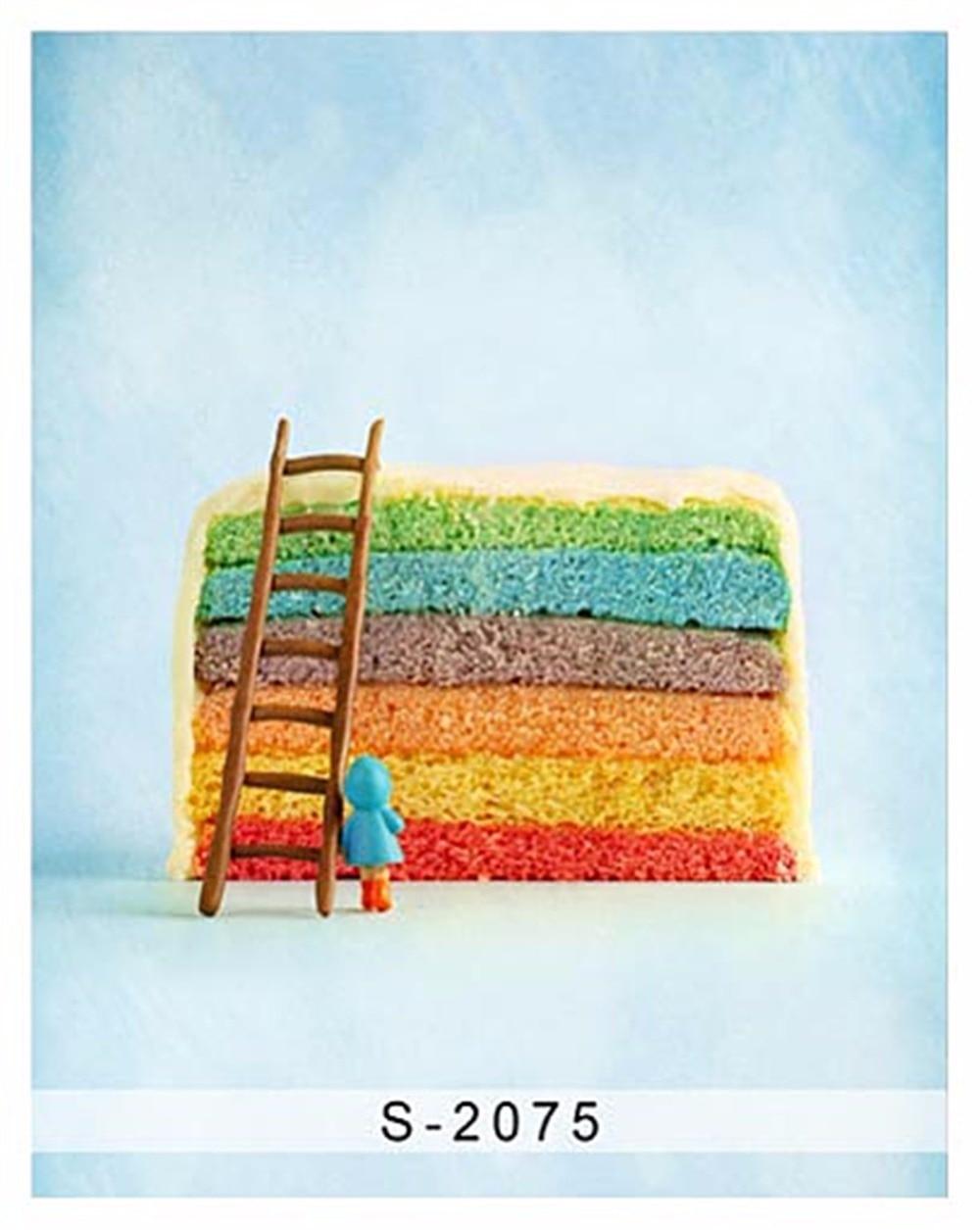 Light Blue Background 150x220cm Rainbow Cake with Wood Ladder Photo Backdrop for Baby Shower Shoot Camera Fotografia Custom Made беспроводная акустика interstep sbs 150 funnybunny blue is ls sbs150blu 000b201