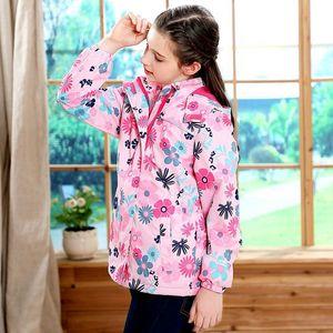Image 2 - Waterproof Fitted Waist Baby Girls Jackets Warm Floral Animals Printed Child Coat Polar Fleece Children Outerwear 3 12 Years Old
