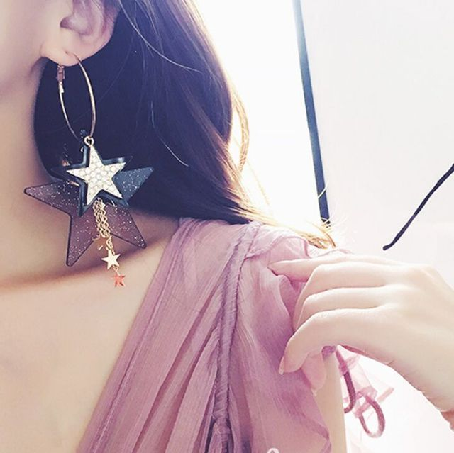 b46d5f159 Women's stylish stars Long Drop earrings fashion jewelry accessories  beautiful New style modern for banquet party drop earrings