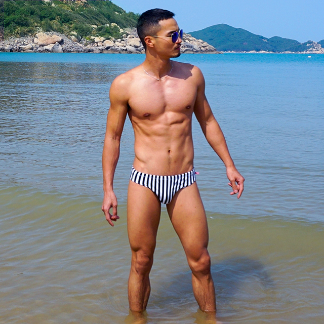 594a7411fed Mens Black and White Stripes Bikini Swimwear