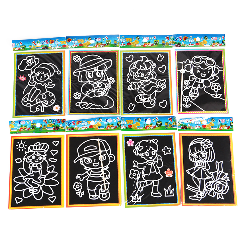 6 PCS 13x9.5cm Children Kids Scratch Art Doodle Pad Painting Card Learning Educational Graffiti Drawing Book