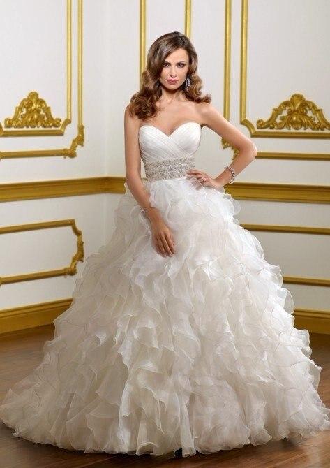 Милое декольте каскадные оборки принцесса свадебные платья из органзы