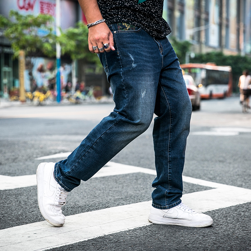 Brand nostalgic retro straight jeans mens large size 30-48 mens trousers casual pants brand motorcycle hand fashion jeans loos