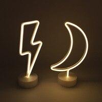 LED Moon Lightning Neon Sign Light Night Lamp Battery Box Wedding Xmas Party Decor Lighting IY304127