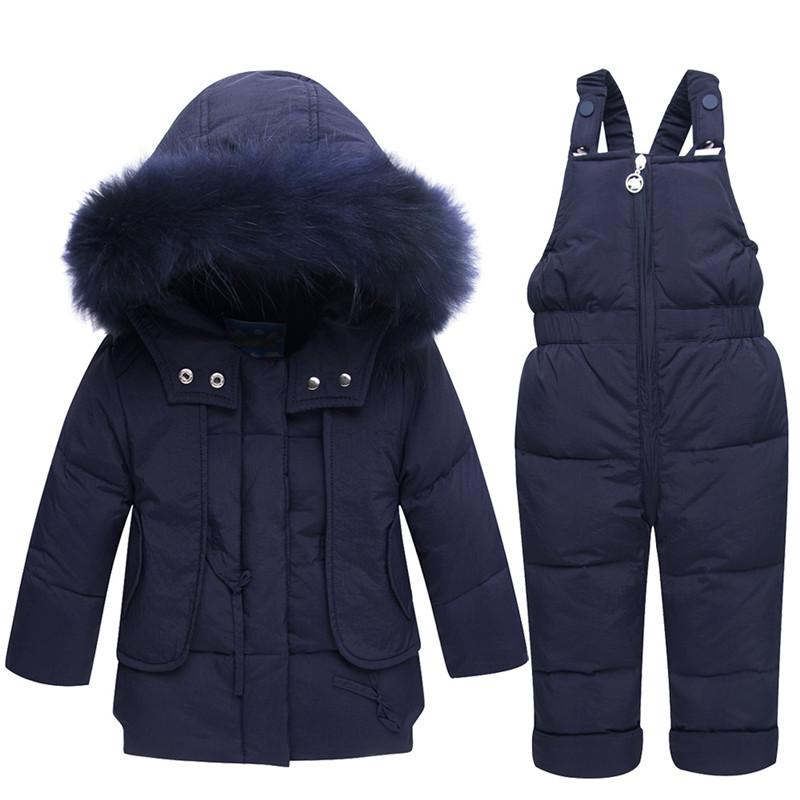 Russia Winter Windproof Snowsuit For Baby Girls Boys White Duck Down Jacket+Pants Overalls Suit Toddler Thick Outerwear Coats Russia Winter Windproof Snowsuit For Baby Girls Boys White Duck Down Jacket+Pants Overalls Suit Toddler Thick Outerwear Coats